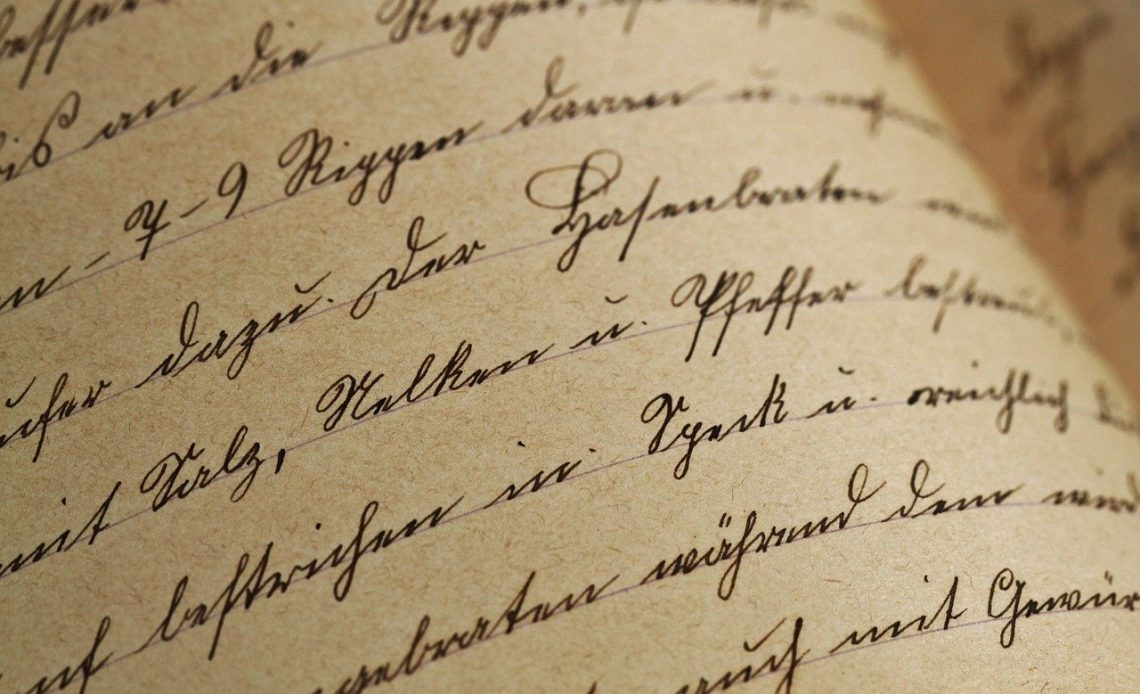 Sütterlin Handwriting Typography Font Letter Paper